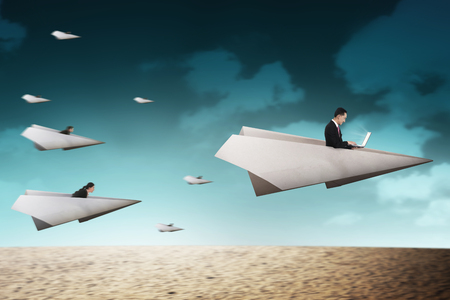 lady fly: Business people race with paper plane going for better career. Business career concept