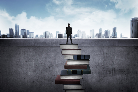 business success: Back view business person looking the city, standing on the top of the book. Education for success concept
