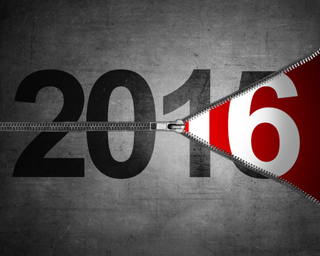 unzip: Happy new year concept. 2015 year change just unzip to 2016 Stock Photo