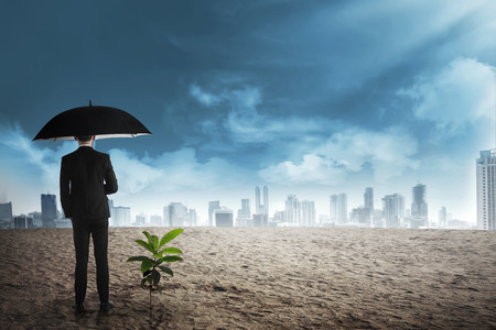 investment concept: Asian business man in black umbrella stand beside plant seed grow on the desert. Business investment concept