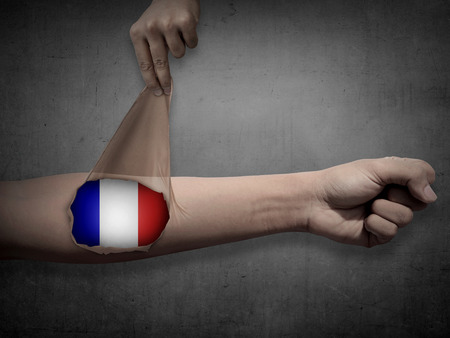patriot: Man open his skin and show france flag inside. Patriot conceptual Stock Photo