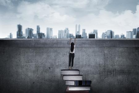 higher education: Asian business woman climbing book. Higher education concept
