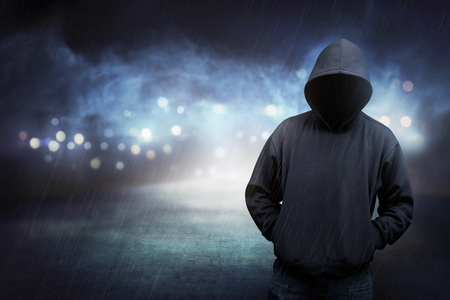 hoodie: Man in hoodie shirt is hacker. Computer security concept Stock Photo