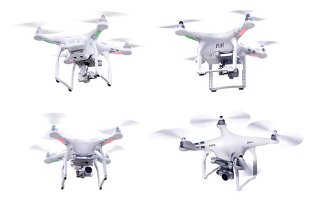 Set of images white little drone isolated over white background Stock Photo