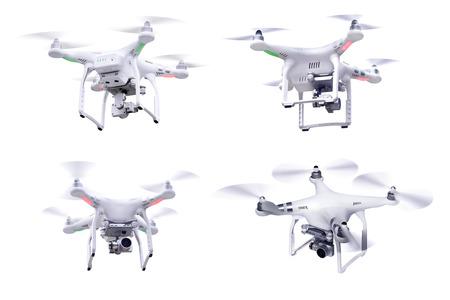 Set van beelden wit weinig drone geïsoleerd over witte achtergrond