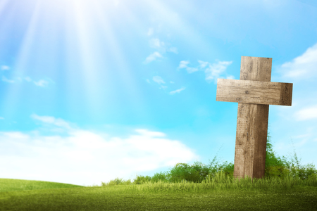 Wooden christian cross. Religious concept image Imagens