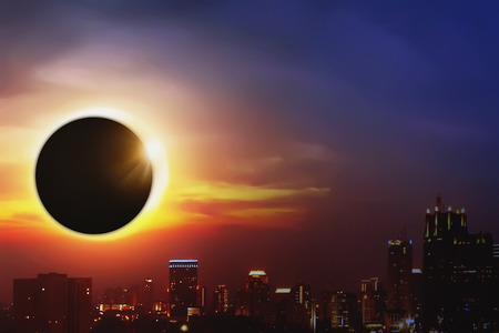 Total solar eclipse over the dark sky