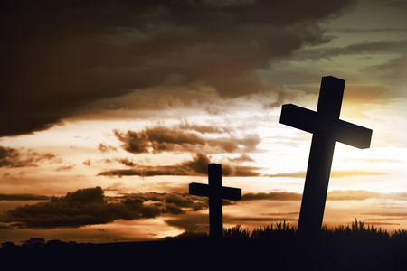 redemption: Wooden christian cross. Religious concept image Stock Photo