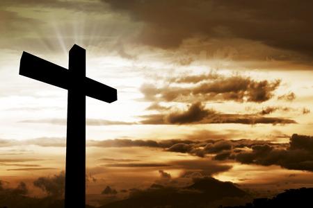 Wooden christian cross. Religious concept image Standard-Bild