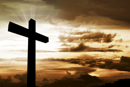 Wooden christian cross. Religious concept image Stock Photo