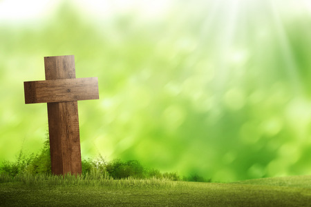 Wooden christian cross. Religious concept image 스톡 콘텐츠