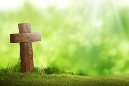 Wooden christian cross. Religious concept image Foto de archivo