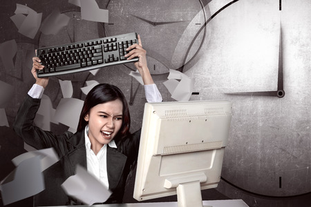 overtime: Asian business get angry because overtime work. Business overtime conceptual