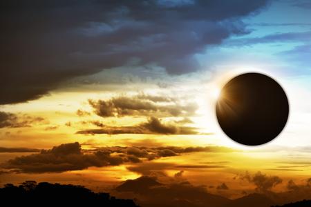 Total solar eclipse over the dark sky