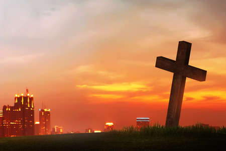 easter cross: Wooden christian cross. Religious concept image Stock Photo