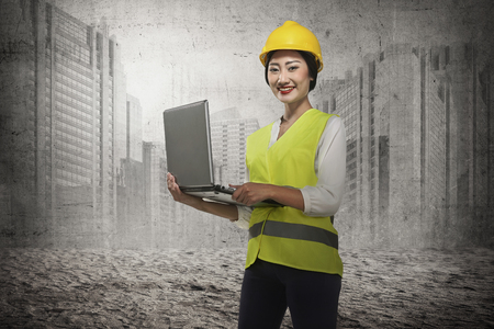 Asian engineer working with laptop. Industrial concept Stock Photo
