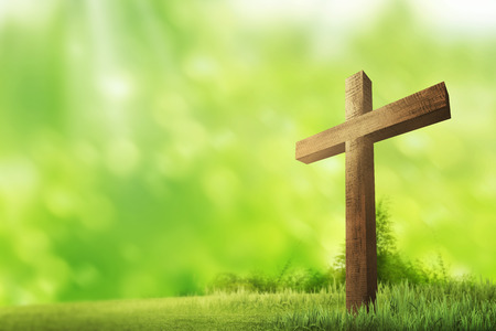 Wooden christian cross. Religious concept image Archivio Fotografico