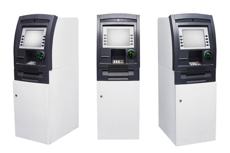 automatic teller machine: Set of Automated Teller Machine or ATM isolated over white background