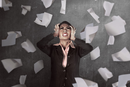 Asian business person get stress. Business depression concept Stock Photo