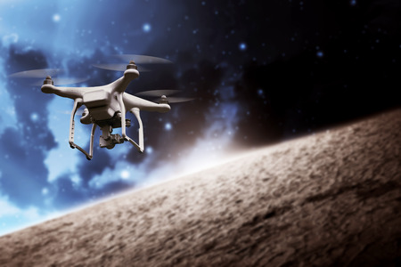 White small drone flying on the outer space