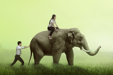 difficult lives: Business man help pushing elephant while his friend sit on it. Business teamwork concept