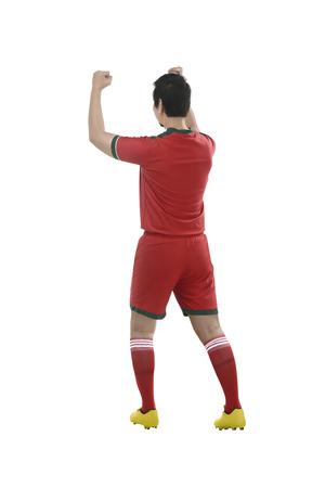 scoring: Image of winning football player after scoring
