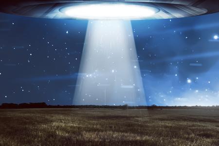 UFO flying in a dark sky. Alien concept