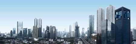 자카르타 도시, 인도네시아의 건물 및 교통 스톡 콘텐츠
