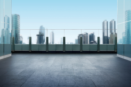 Roof top balcony in the building with cityscape background