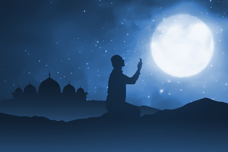 designe: Silhouette of man pray to god on sand desert. in the night and moonlight. you can put your designe in here.