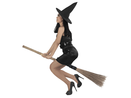 Asian witch woman ride the broom, isolated over white background Stock Photo