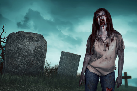 Asian zombie woman on the cemetery, angry face and ugly. Halloween concept image