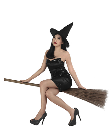 Beauty of young asian witch woman ride the broom, isolated overwhite background