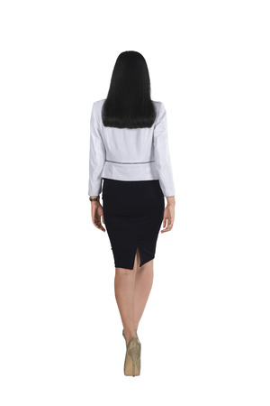 Back view of asian business woman isolated over white background Stock Photo