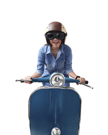 Asian woman using helmet driving blue retro motorcycle isolated on white background
