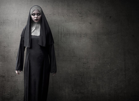 Scary devil nun for halloween concept image