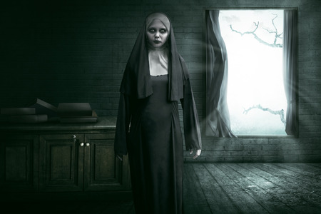 exorcist: Scary devil nun for halloween concept image