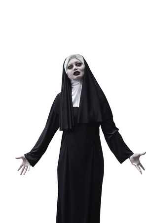 Asian woman devil nun isolated over white background