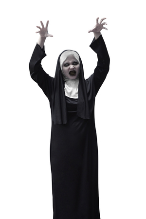 fiend: Scary asian nun raise up hand want to scare isolated over white background