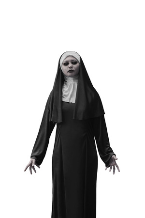 incubus: Evil nun expressions isolated over white background
