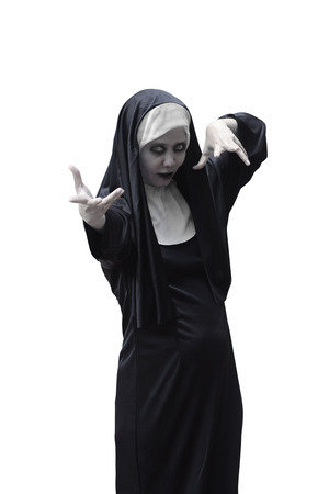 wicked woman: Asian woman devil nun isolated over white background