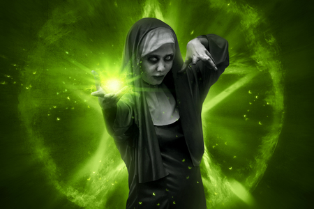 Scary asian nun casting spell. Halloween concept image