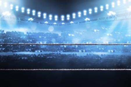 Arena de boxeo con el espectador borrosa y la luz del estadio Foto de archivo - 65494565