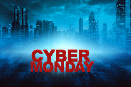 Cyber Monday text against black night town