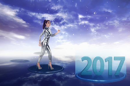 Pretty asian woman wearing latex jumpsuit. Inside cyber world. 2017 new year concept