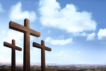 Image of christian cross over blue sky background Stock Photo