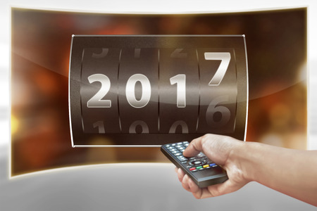 new year counter: 2017 counter digit. Happy new year concept Stock Photo