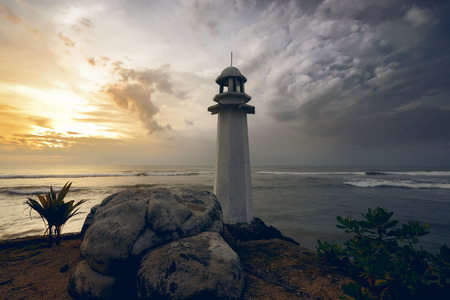 Lighthouse on the carita beach, banten, indonesia