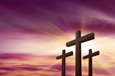 Three crosses over sky background. Religious concept
