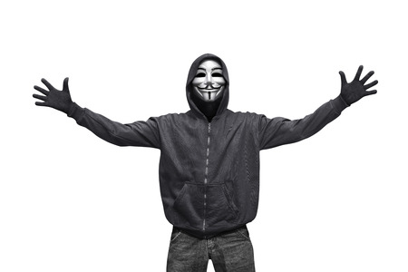 Portrait of hacker man with mask isolated against white background